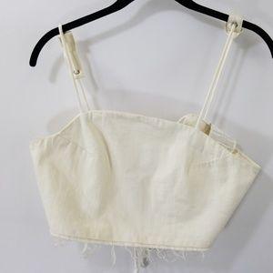 Zara Trafaluc White Tie Back Denim Crop Top XS